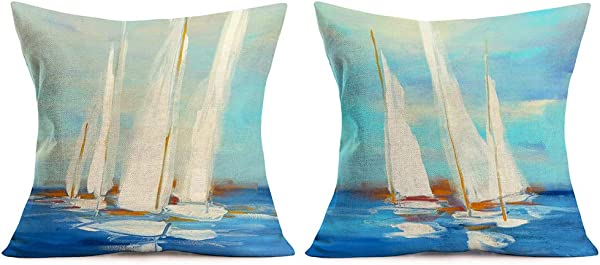 Xihomeli Set Of 2 Abstract Art Oil Painting Cushion Cover Sailboat On Ocean Sail Cotton Linen Pillowcases Decoration For Sofa Bed Chair Car Square Pillow Cover 18 X 18 Inches Blue 2 Pack Sailboat
