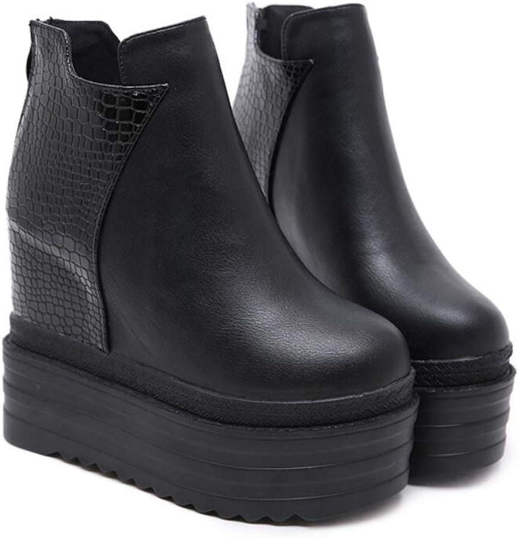 DANDANJIE Damen Plateauschuhe Keilabsatz Stiefel Reiverschluss Super High Heel Schuhe für Herbst Winter Balck,schwarz,35EU