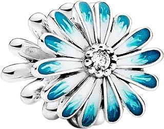TopLAD Blue Daisy Charm fits Pandora Charm Bracelets 925 Silver DIY Fashion Jewellery