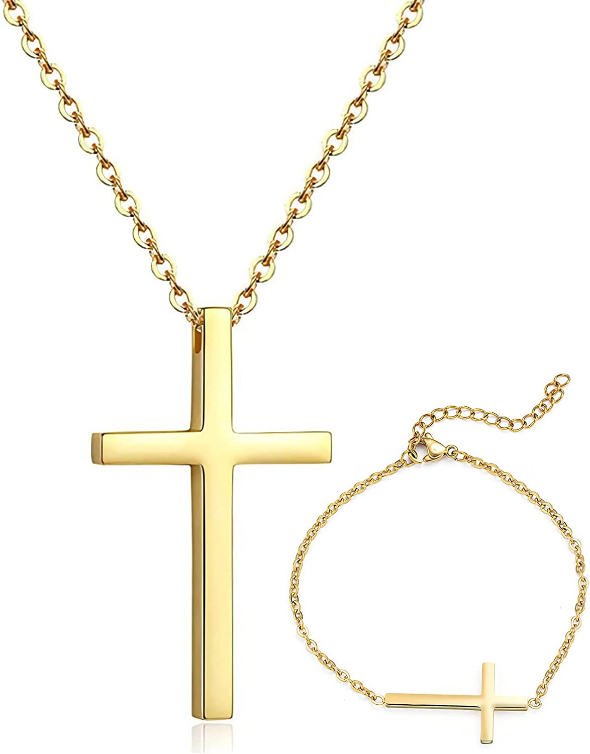 Wowsweet Classic Religious Cross Pendant Stainless Steel Necklace Adjustable Link Chain Hallow Bracelets for Men Women