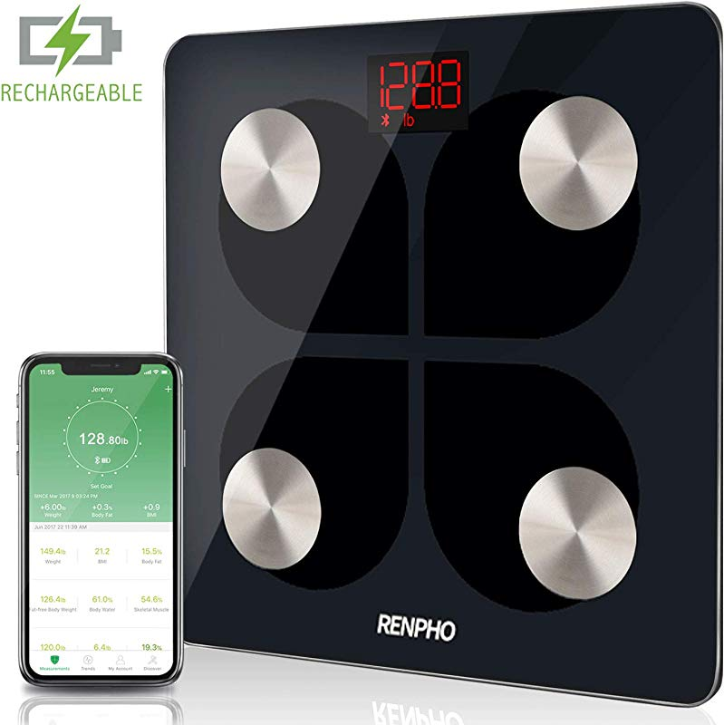 RENPHO Bluetooth Body Fat Smart Scale USB Rechargeable Digital Bathroom Weight Scale Body Fat Monitor With Smartphone App 396 Lbs