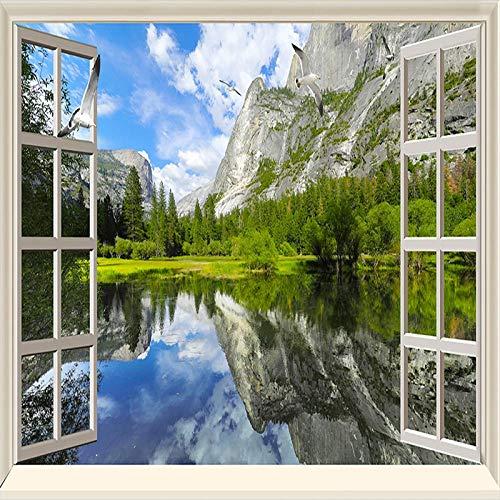 Papel pintado tejido no tejido Ventana de la selva alpina blanca azul verde Papel tapiz fotográfico fotomurales decorativos para Sala Cuarto Oficina Salón vinilos pared 450x300cm