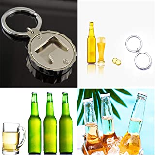 OSTELY Unisex Creative Beer Bottle Cap-Shaped Bottle Opener Keychain Keyring Gift