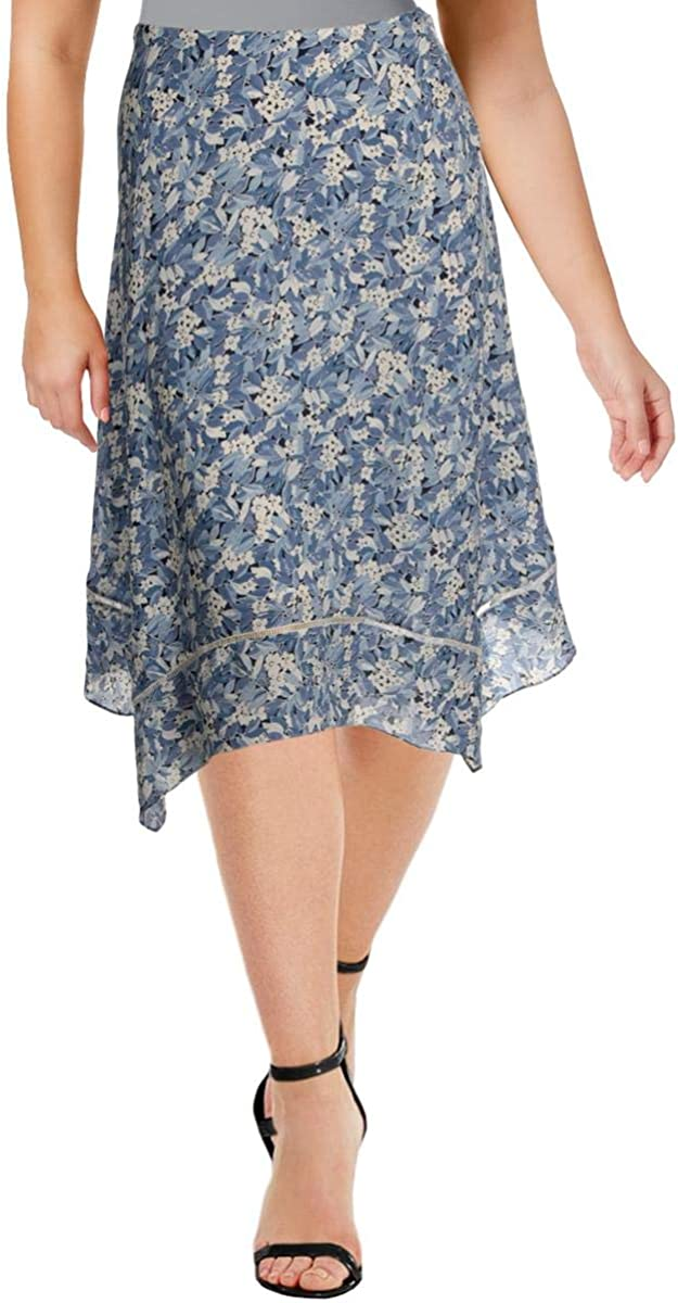 Ralph Lauren Womens Light Blue Ruffled Floral Midi Skirt Size 8