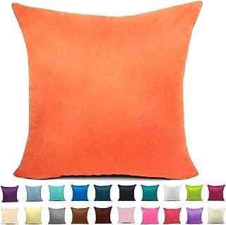 Easondea Cushion Covers Plain Suede Sofa Bed Home Car Decoration Solid Luxury Pillow Case Orange 28