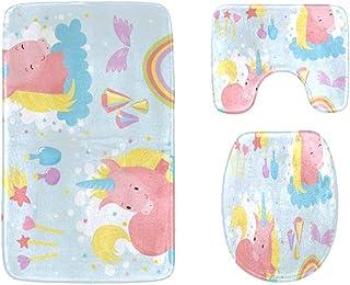 Cute Unicorns Clouds Rainbow and Stars Bathroom Rug Mats Set 3-Piece,Soft Shower Bath Rugs,Contour Mat and Toilet Seat Lid...