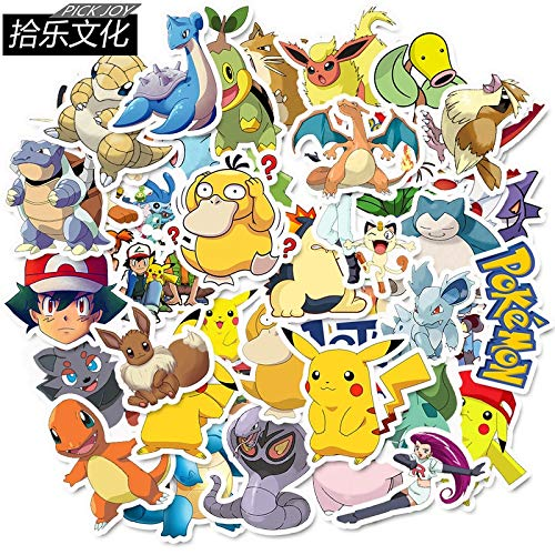 50 PCS pokemons cartoon PVC waterproof Pikachu sticker notebook computer laptop bar case car sticker 2019