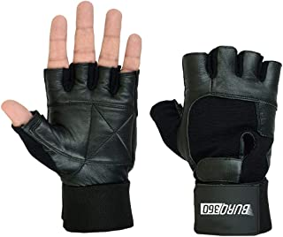 Weight Lifting Gloves in Black Color with Adjustable Long Wrist Wraps and Extra Padding For Gym and Exercise.