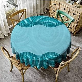 ScottDecor Seafoam Jacquard Tablecloth Wavy Dotted Pattern with Australian Aboriginal Design Tribal Kakadu Pattern Round Tablecloth Teal Seafoam Petrol Blue Diameter 60