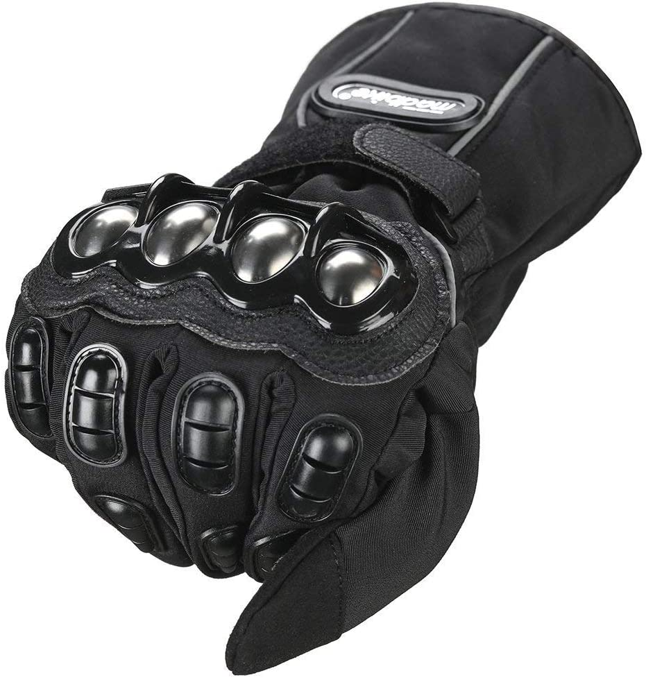 M, BLACK WINTER ILM Alloy Steel Motorcycle Riding Gloves Warm Waterproof Windproof for Winter Use