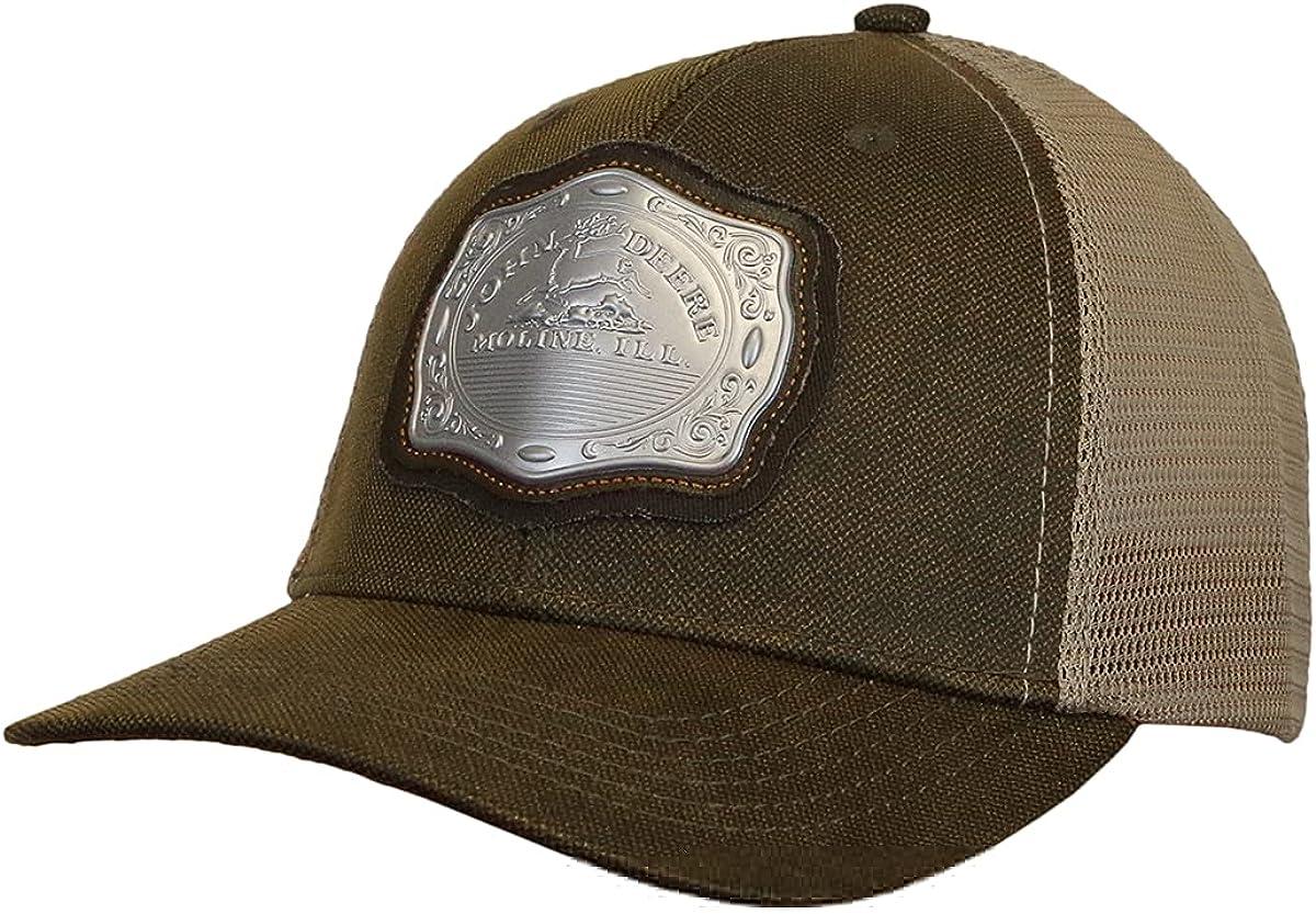 John Deere Oil Skin Look, Belt Buckle-Brown-Os