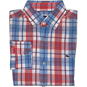 Vineyard Vines Mens Long Sleeve Button Down Whale Shirt Oxford X-Small, Pleasant Valley Plaid Jetty Red