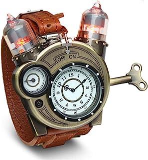 ThinkGeek Steampunk-Styled Tesla Analog Watch Weathered-Brass نگاهی به یافته های فلزی Plus Leather Strap