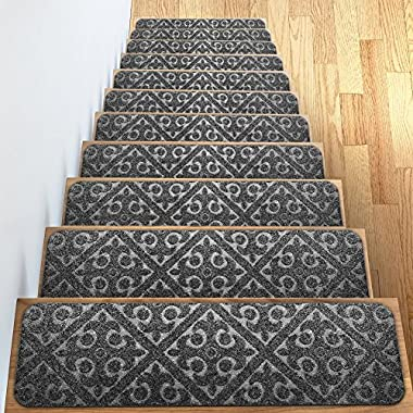 Carpet Stair Treads Set of 13 Non Slip/Skid Rubber Runner Mats or Rug Tread - Indoor Outdoor Pet Dog Stair Treads Pads - Non-Slip Stairway Carpet Rugs (Gray) 8  x 30  Includes Adhesive Tape