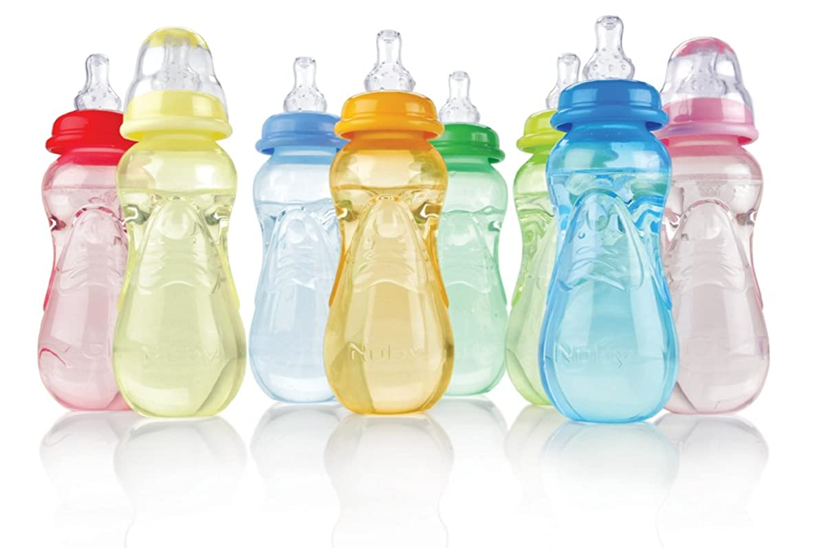 Nuby 3-Pack Non-Drip Standard Neck Bottles, 10 Ounce, Colors May Vary