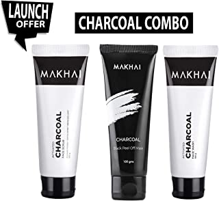 Makhai Activated Charcoal Face wash, Face Scrub and Peel off Mask ( Parabens Free)