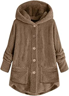 Women's Plus Size Jacket Coats Hoodie with Pockets Long Sleeve Winter Solid Warm Plush Loose Button Outwear