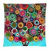 larryeshop Beautiful Patterns y tiras estilo mexicano decorativa cojín de lino y algodón manta almohada 18X18pulgada (.