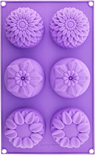 SHAFIRE Silica Gel Cavity Sunflower Mixed Flower Chrysanthemum Cupcake Baking Muffin Candle Soap Mould (Random Colour)