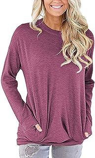 Hisweet Women's Casual Tunic Shirt Long Sleeve Tops Loose Comfy Sweatshirt