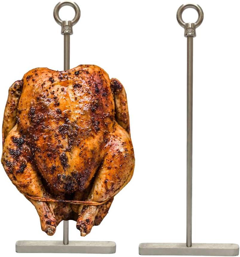 JAYAN 10 inch Stainless Super Skewers,Vertical spit,Poultry Hanger, Turkey Holder, Vertical Grill Rack for Smoke Whole Chicken/Turkey,Al Pastor Skewer,Shawarma,2-Set with 2 skewers 2