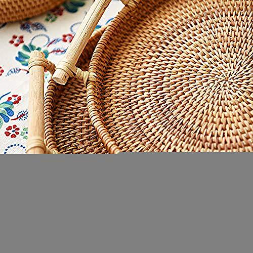 Bandeja redonda de ratán con asas, pan de té, cesta de café, 22 cm