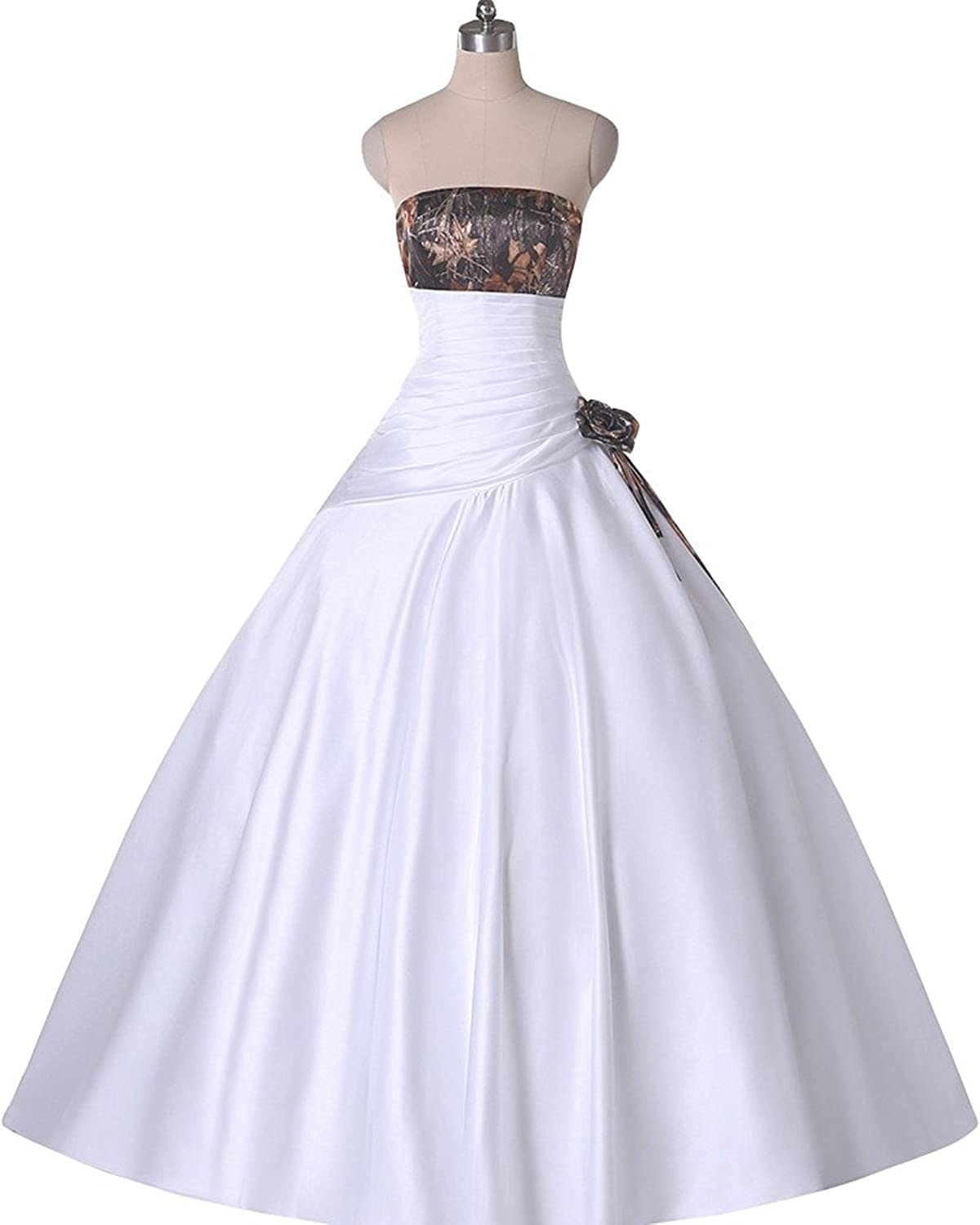 DINGZAN Strapless Camo Ball Quinceanera Prom Wedding Dresses Long