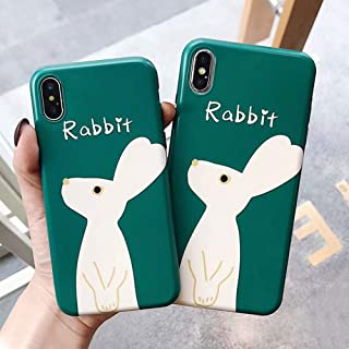 BONTOUJOUR iPhone 7 Plus/iPhone 8 Plus Case, Lovely Art Style Cartoon Green Rabbit Soft TPU Silicone Cover Case, Funny Animal Style Case Full Body Strong Protection- Green Rabbit