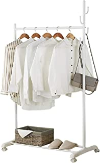 amzdeal Portant Vêtements Portemanteau 3 en 1, Portemanteau Robuste avec roulettes, Étagère Inférieure,avec Étagère de Ran...