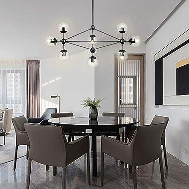 LAMPUNDIT DNA 10-Light Chandelier Black Finish with Globe Glass Shade, Modern Chandelier for Kitchen Island Dining Room Livin