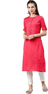 ALENA Cotton Women's Casual Kurta in Red Color withThree-Fourth Sleeve