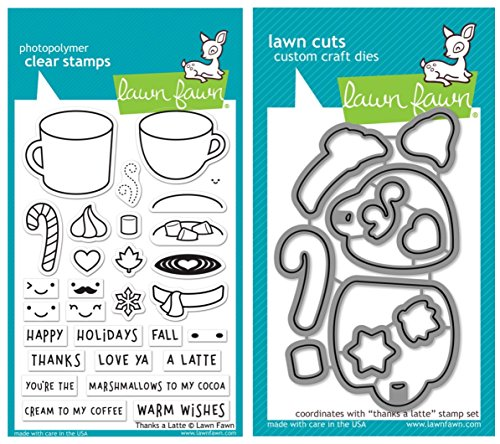 Lawn Fawn Thanks a Latte Clear Stamp Set and Coordinating Lawn Cut Die Set, Two Item Bundle (LF1761, LF1762)