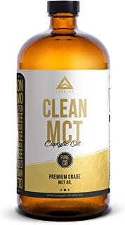 Clean MCT Oil: 100% Pure C8 Caprylic Acid Triglycerides | Best Ketogenic Diet Supplement | The Perfect Keto Coffee Fat for Ketones | by LevelUp® (32oz Glass Bottle)