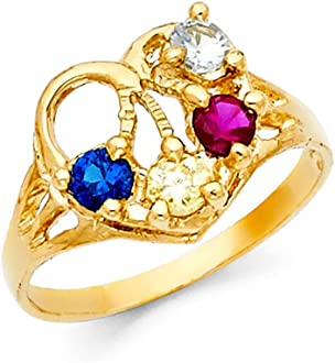 14K Solid Yellow Gold CZ Sweet 16 Birthday V Shaped Heart Quinceanera Ring Ioka