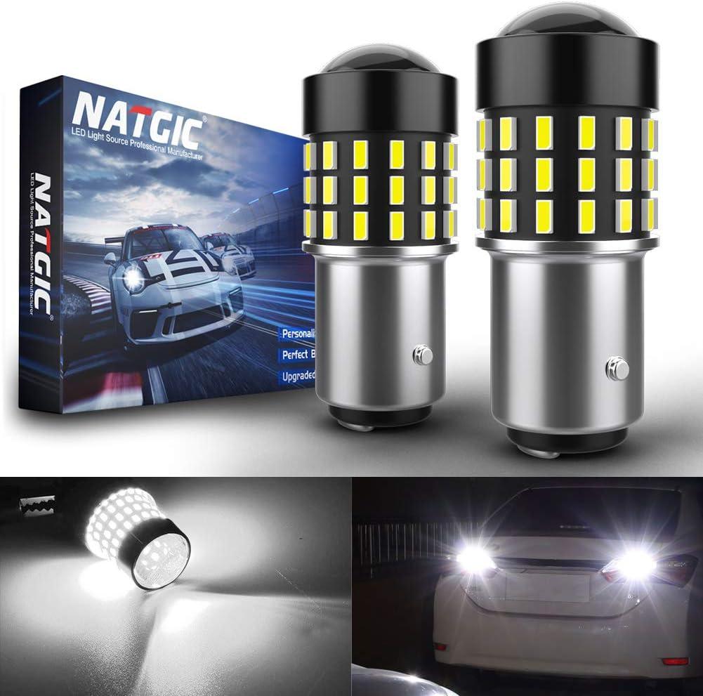 NATGIC 1157 BAY15D p21/5w 7528 Bombillas LED 3014SMD 54-EX Chipsets con proyector de Lentes para Luces de Marcha atrás con Freno de Respaldo, Xenón Blanco 12-24V (Paquete de 2)