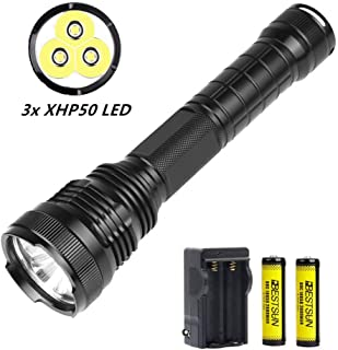 BESTSUN 3x CREE XHP50 LED Flashlight, Super Bright 8000 Lumen Tactical Flashlight 5 Modes Waterproof Handheld Flashlight Torch Lamp for Camping, Hiking, Fishing with Rechargeable Batteries and Charger