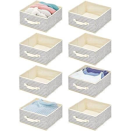 mDesign boîte de Rangement en Tissu (Lot de 8) – Panier de Rangement pour Le Dressing – boîte en Tissu avec poignée et Large Ouverture pour vêtements, couvertures et Autres – Couleur Nature et Bleu