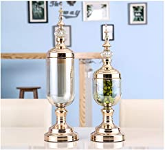Flower Bottle Champagne with Lid Dry Flower Decoration Thick Glass Crafts Home Gift Set (1 Set 2 Pieces)