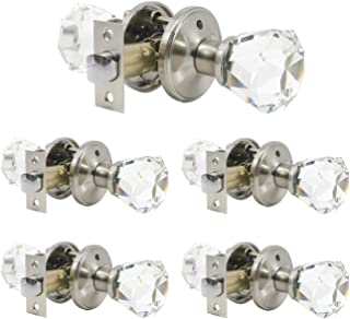 5 Pack Crystal Clear Glass Door Knobs in Diamond Shape, Privacy Function for Bedroom/Bathroom, Modern Interior Door Handles and Knobs Without Keys, Heavy Duty Satin Nickel Based Knob Set