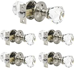 5 Pack Crystal Interior Privacy Door Knobs in Brushed Nickel Finish, Keyless Door Handles Used for Bedroom Bathroom, Heavy Duty Clear Glass with Diamond Shape