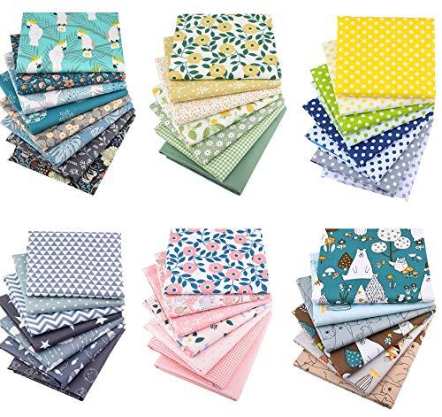 WINAROI 43 piezas de tela de algodón para coser, patchwork, paquete de retales, 100% tela de algodón con múltiples patrones para coser, 25 x 25 cm