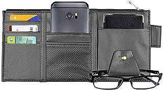 Multifunction PU Car Sun Visor Storage Bag Auto Glasses Ticket Documents Folder Mobile Phone Organizer (Black (Zipper))