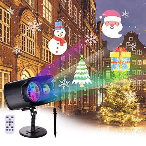 Osaloe Proiettore Luci Natale LED, Proiettore di luce Impermeabile 2 in 1, 12 Modelli Modificabili 13 Effetti Ondulati Colorati Dell'Acqua che Scorre per Interni All'Aperto, Halloween, Natale, Feste