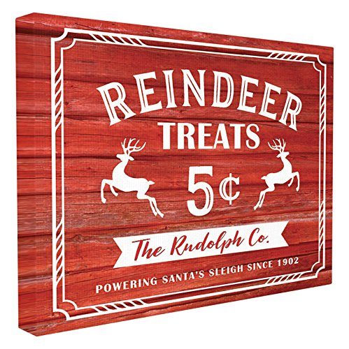 Stupell Industries Reindeer Treats Vintage Sign Stretched Canvas Wall Art