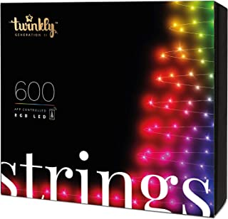 Twinkly - TWS600STP 600 RGB Multicolor LED String Lights - App-Controlled LED Christmas Lights with Green Cable (157.5ft)...