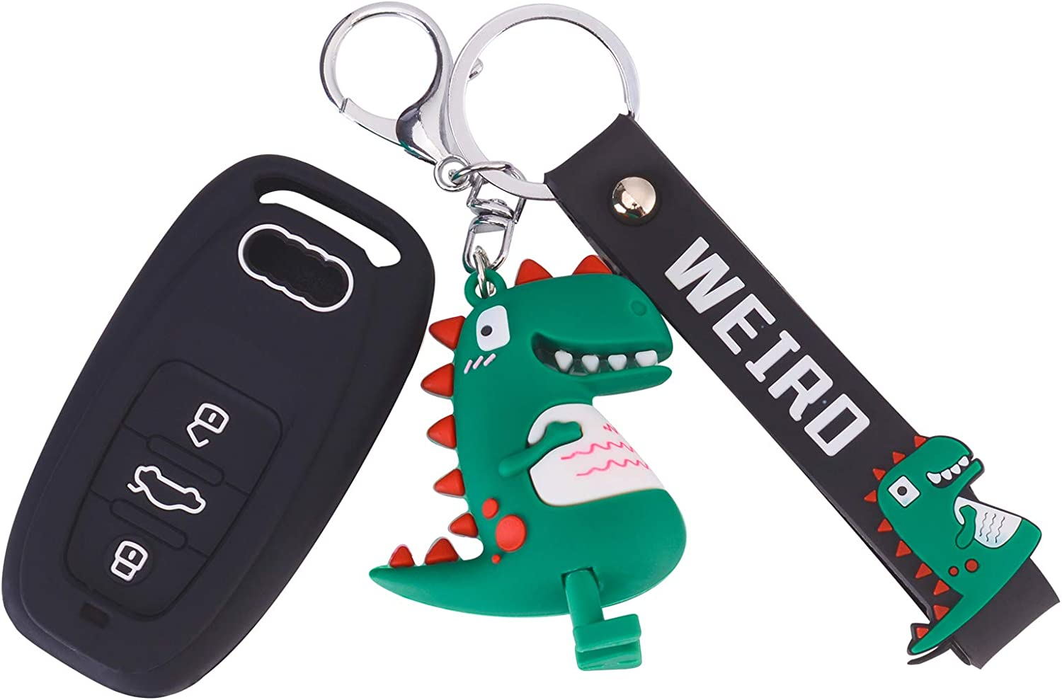 yasfandr Silicone Remote Key Fob Covers Smooth Soft Rubber Case Fits for Audi 2019 2020 A6 A6L A7 E-Tron A8 Q8 Keyless Smart Key Fob with Cute Cartoon Keychains Black
