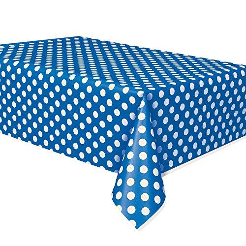 Pois Bleu royal Plastique Housse de table Chiffon facile à nettoyer Nappe de fête couvertures chiffons Pois Nappe