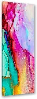 Feeby. Cuadro en lienzo - 1 Parte - 40x100 cm, Imagen impresión Pintura decoración Cuadros de una pieza, ABSTRACTO, MODERNO, ROSADO