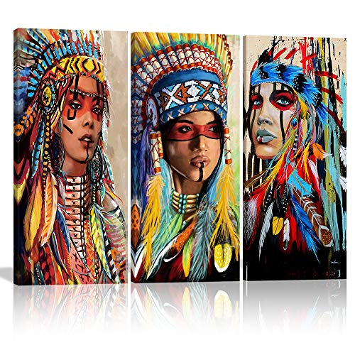 Large Colorful Indian Girl Chief Native American Canvas Wall Art Decor Artwork Paintings Beautiful Feathered Women Wall Art Native American Poster Picture for Bedroom Living Room Framed Ready to Hang(16'x32'x3)