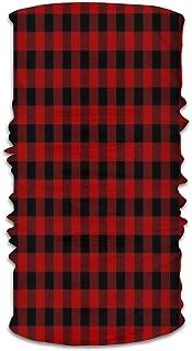 Aeoiba Red Black Buffalo Check Plaid Pattern Face Mask Bandana For Dust Headband Magic Scarf Head Wrap Neck Warmer